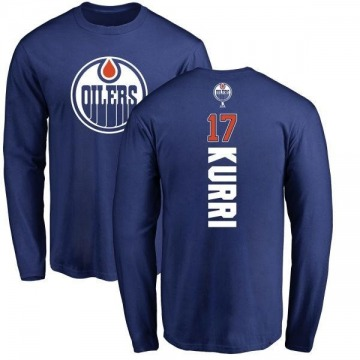 Men's Jari Kurri Edmonton Oilers Backer Long Sleeve T-Shirt - Royal