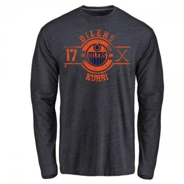 Men's Jari Kurri Edmonton Oilers Insignia Tri-Blend Long Sleeve T-Shirt - Royal
