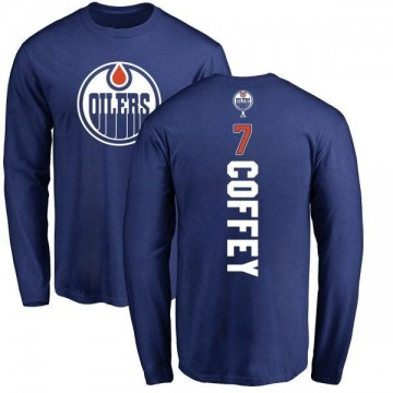 Men's Paul Coffey Edmonton Oilers Backer Long Sleeve T-Shirt - Royal