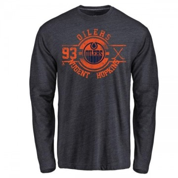 Men's Ryan Nugent-Hopkins Edmonton Oilers Insignia Tri-Blend Long Sleeve T-Shirt - Royal